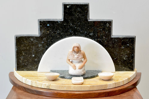 'Corn Grinding Song' Marble, Alabaster, Granite Sculpture by Cliff Fragua