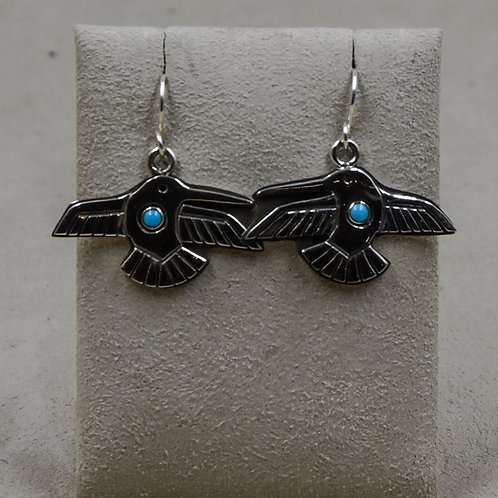 Turquoise Hummingbird Sterling Silver Earrings by Aaron John