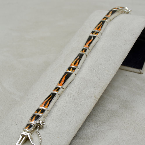 Flame Link Bracelet w/ S. Silver w/ Black Jade, Spiny Oyster by GL Mille
