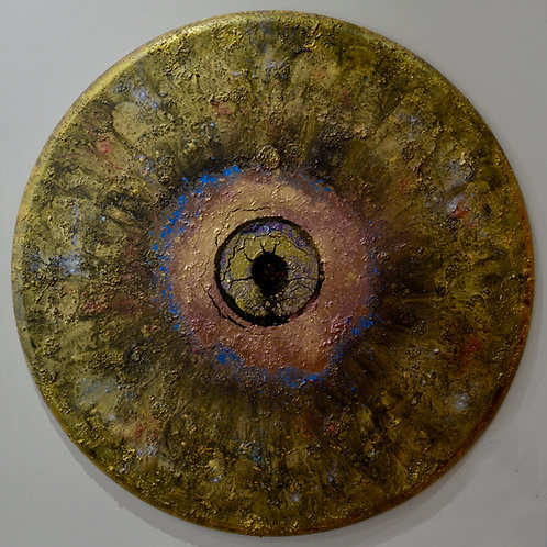 """""""Ceremonial Eclipse #1"""" Acrylic/Mixed on Canvas - 40"""" Dia by Doug Coffin"""