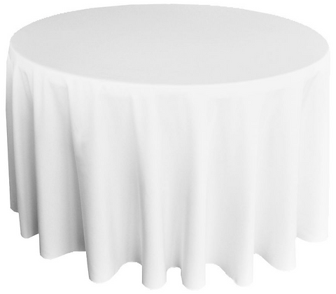 Round White Poly Tablecloth