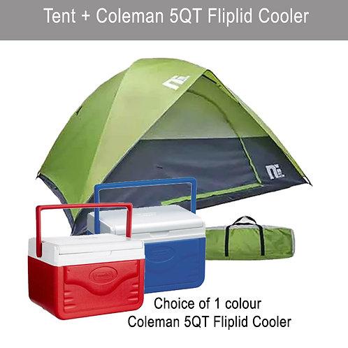 8 Men Tent with COLEMAN 5QT Flip lid Cooler