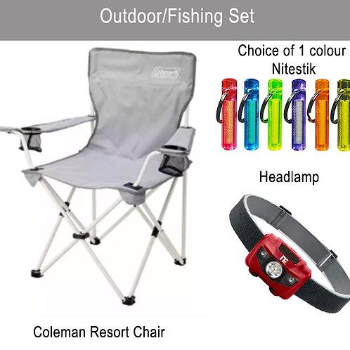 Coleman Resort Folding Chair Portable Light Weight + NiteStik + Headlamp