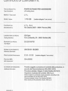 CERTIFICATO DI CONFORMITA IMQ 609 PORTE