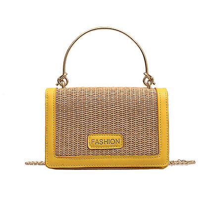Yellow Framed Straw Bag