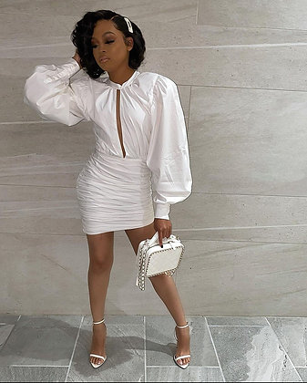 Sexy Long Sleeve Ruched  Dress MK-3039