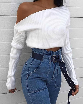 Margot Off the Shoulder Ribbed Top