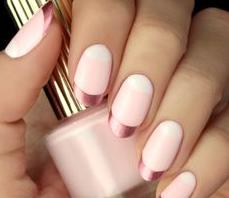 metallic pink french tips nail design