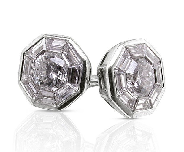 88 cut geometric stud earrings