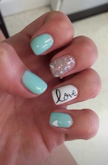 blue nails with glitter and love design