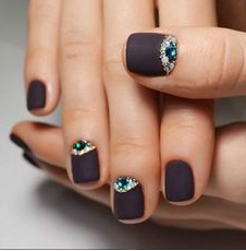 matte color with jewel accent nails