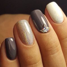 two color with glitter and jewels nail design