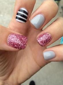 grey, pink glitter, black and white stripe mixed nail design