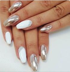 metallic and white nail design