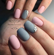 two color matte nails with jewels