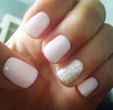 white glitter accent nail design