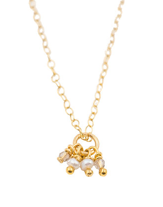 Ellie Pearl and Crystal Tiny Drop Necklace