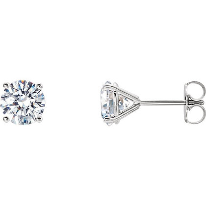 4 Prong 1ct Diamond Stud Earrings in yellow or white gold