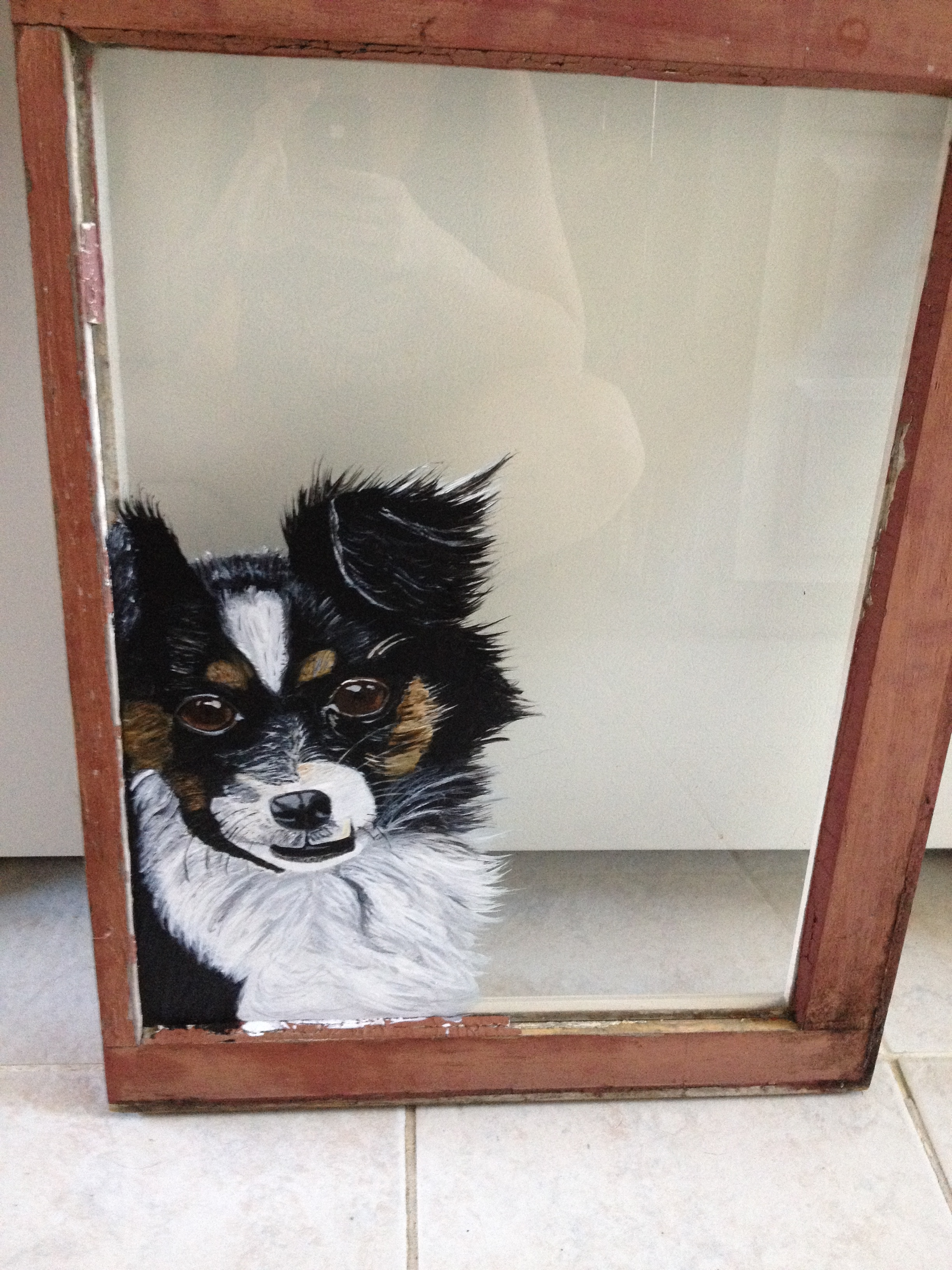 Dog in window painting