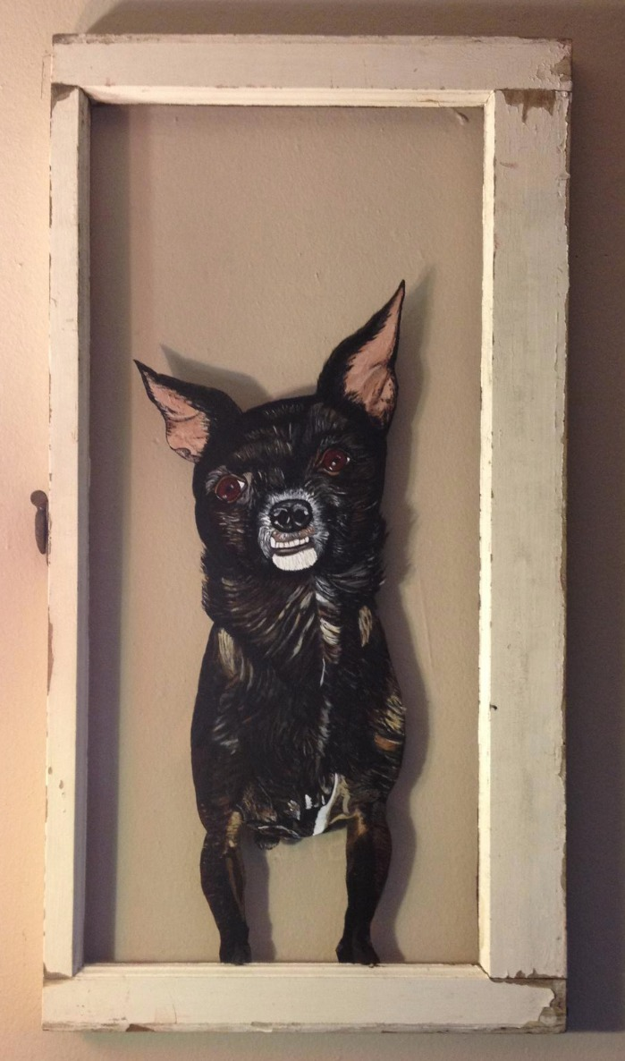dog in the window painting