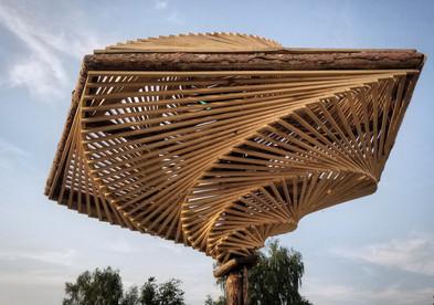 Spiral Umbrella Shade Structure