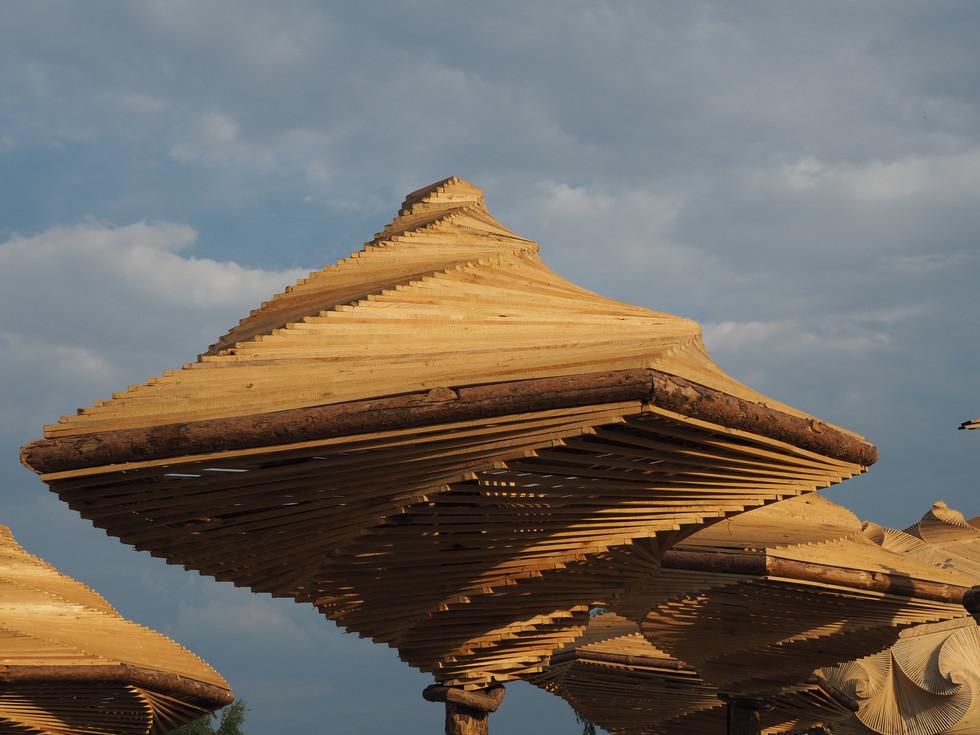 Spiral Umbrellas Shade Structure