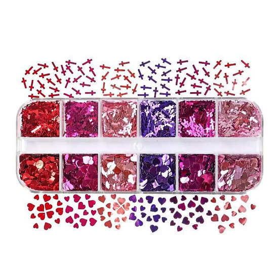 Hearts and Crosses sequins box