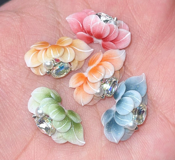 Flowers with rhinestone & pearl
