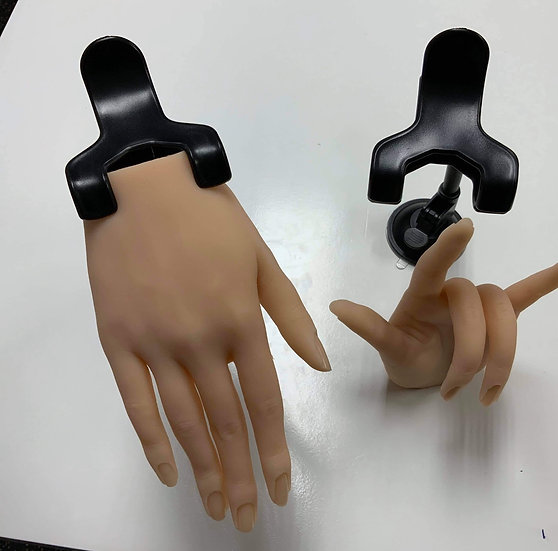 Silicone hand with clip on stand (white)