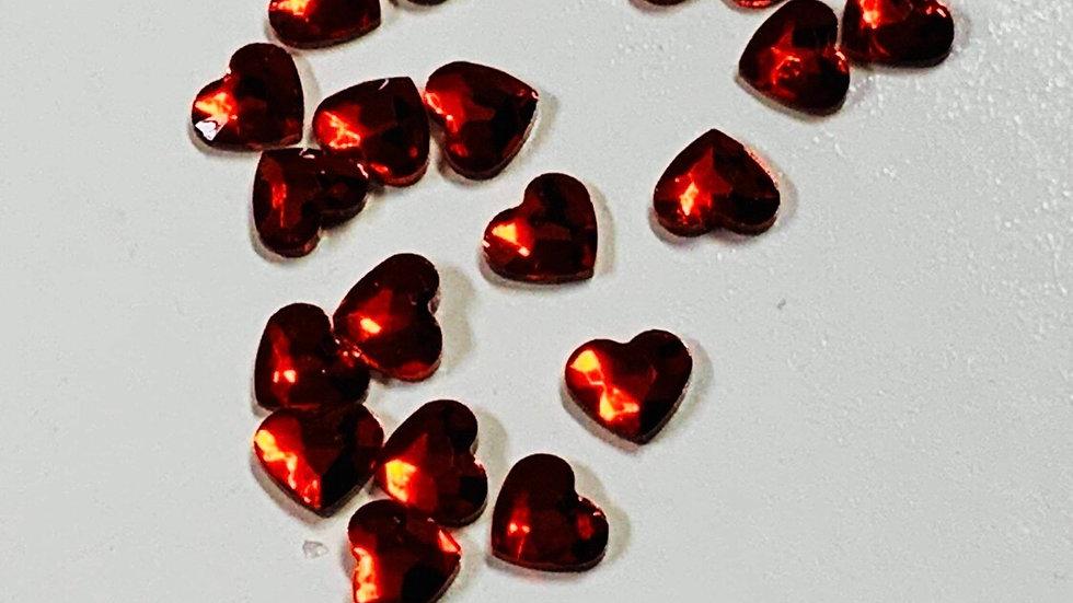 Red Hearts Rhinestones