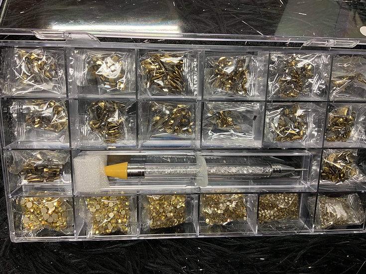 Gold Rhinestones Box (700+ pcs)