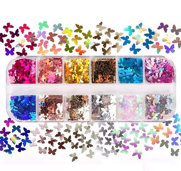 Holographic Butterflies Sequins Box