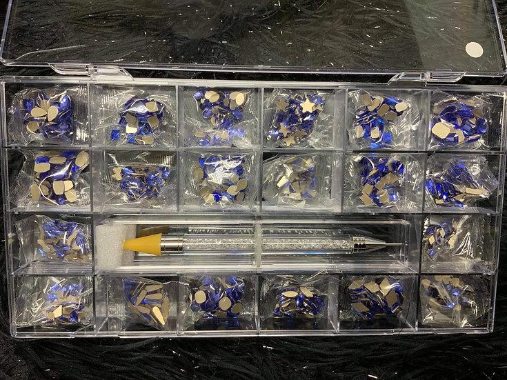 Blue Rhinestones Box (1000 pcs)