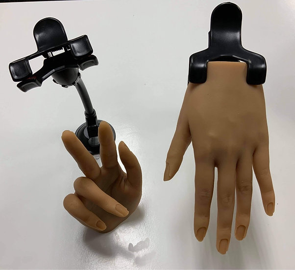Silicone Hand with clip on base (tan)