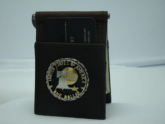 Eisenhower Dollar Eagle Buffalo Leather Money Clip/Card Holder
