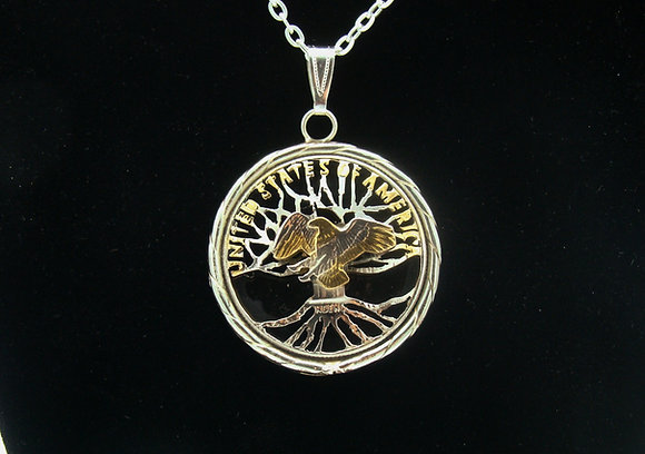 Tree of Life Half Dollar Pendant with Eagle