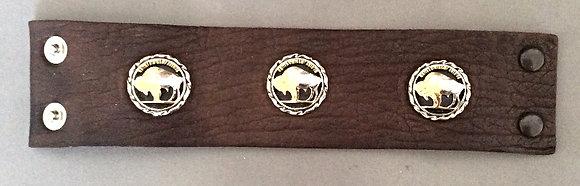 3 Buffalo Nickels Buffalo Leather Bracelet