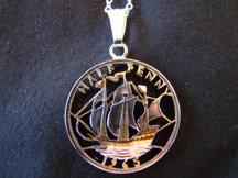 English Half Penny Coin Pendant