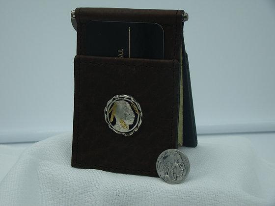 Indian Head Nickel Buffalo Leather Money Clip/Card Holder