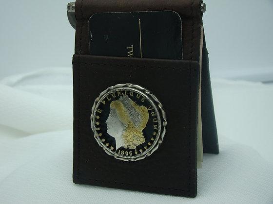Morgan Dollar Buffalo Leather Money Clip/Card Holder
