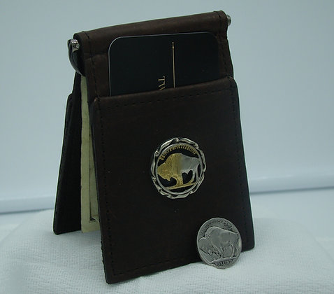 Buffalo Nickel Buffalo Leather Money Clip/Card Holder