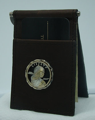 Sacagawea Dollar Buffalo Leather Money Clip/Card Holder