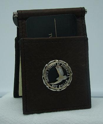 Sacagawea Dollar Eagle Buffalo Leather Money Clip/Card Holder