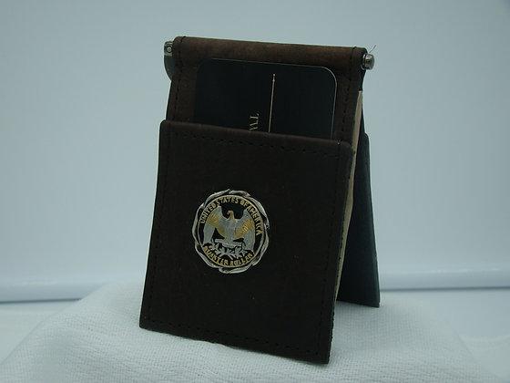 Washington Quarter Eagle Buffalo Leather Money Clip/Card Holder
