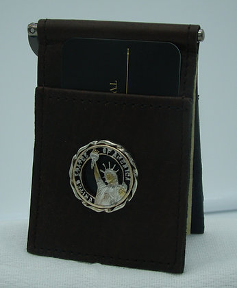 Presidential Dollar Lady Liberty Buffalo Leather Money Clip/Card Holder