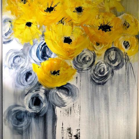 Deco florale jaune