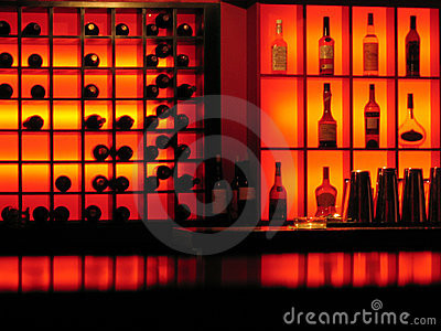 red-nightclub-bar-glowing-bottles-backgr