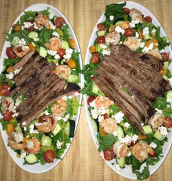 Steak and shrimp salad