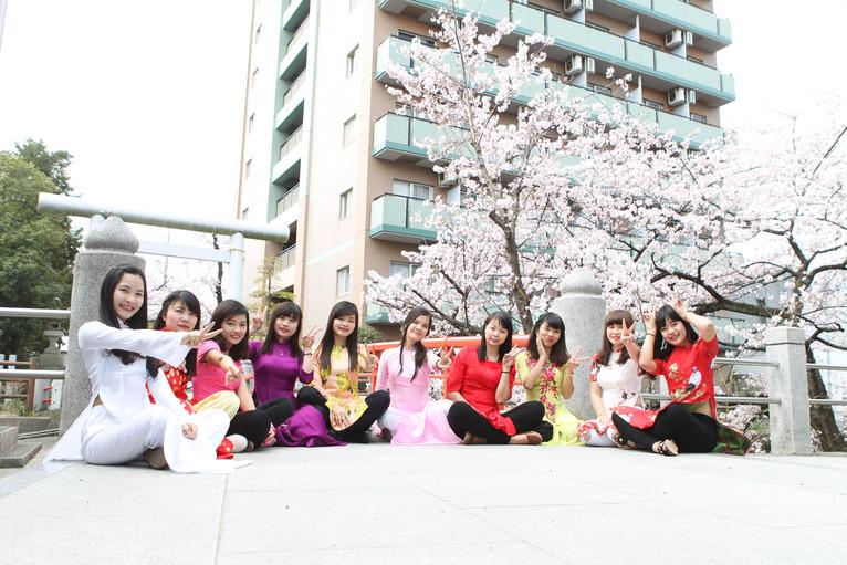 松戸神社でお花見をしました