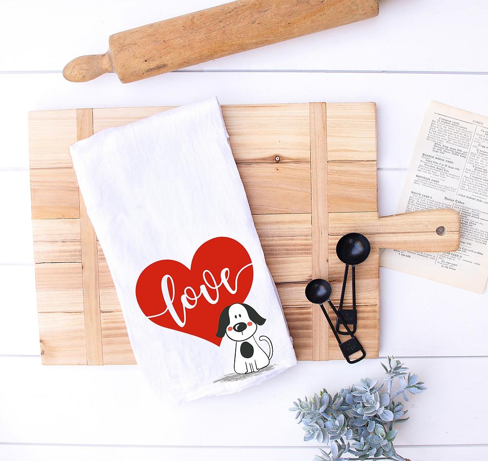 Puppy Love Valentine's Day Towel
